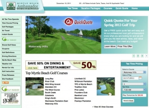 Ambassador Golf and Beach Vacations web site